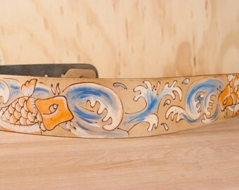 Guitar Strap - Leather Guitar Strap in the Old Koi pattern with fish and waves - Handmade leather strap for acoustic or electric guitars