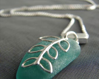Sea Glass Necklace / seaglass necklace / beach glass necklace / sterling silver sea glass jewelry / beach glass jewellery / leaf necklace