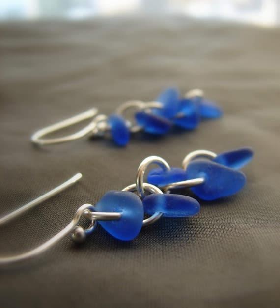 Cascade sea glass earrings in blue