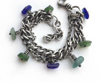 Multichain Blue Green Aqua Seaglass Beach Glass Sterling Silver Oxidized Vintage Curb Rolo Chain Bracelet One of a Kind Adjustable