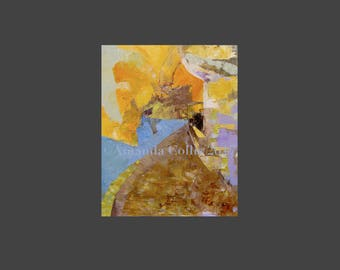 Abstract Fine art print, small, amber, gold, light orange, blue, brown, A6 to A3 size