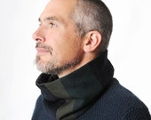 Mens winter cowl scarf, Black and green patchwork snood, Winter accessories, Mens fashion, Gift for him, Green and black tube scarf, MALAM