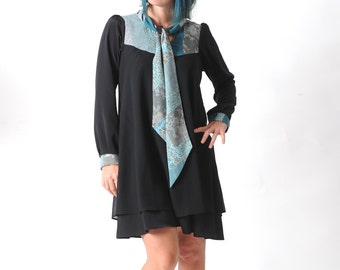 Black and blue womens dress, Black crepe dress, Blue patchwork tie collar, Black tent dress, Womens clothing, MALAM size UK 12