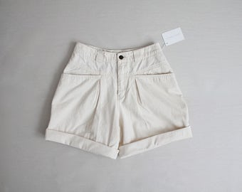 drop cloth cotton shorts | high waist shorts | voluminous shorts