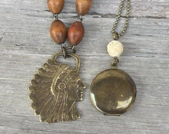 Bogo vintage necklace Native American Chief Pendant retro american Indian fob/ brass locket brass ox chain n19