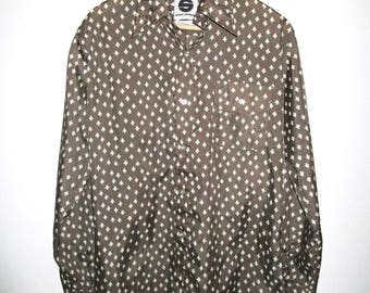 SASKA Ski Shirt - Vintage 1970's - Mens L - Brown Tree Print - Nylon Ski Shirt - Saska Parrott / Saska Skiwear - Spring Skiing