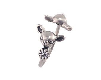 Deer Ring     silver gold fawn bambi jewelry kawaii cute head to head