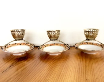Vintage Egg Cups. Royal Albert Side Plates with Silverplate Egg Holders. Rare, Unusual English Breakfast Serving Dishes.
