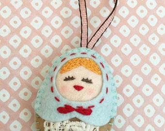 Felt Russian Doll, Christmas Ornament (Medium), Felt Doll Ornament, Felt Matryoshka, Felt Hanging Decoration, Handmade Christmas Gift