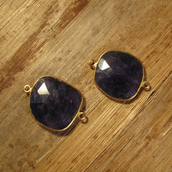 2 Sapphire Pendants, Matching Gold Plated Irregular Bezel Charms, Double Sided, Faceted Blue Gemstones, 26mm x 19mm (C-Sa1b)