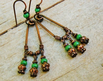 Czech Glass and Copper hoop boho dangle earrings - wire wrapped green bead dangles