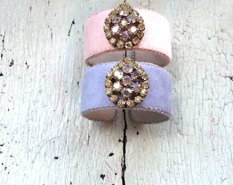 Pale Pink and Pale Periwinkle Adjustable Cuffs with AB Rhinestones