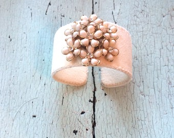Cream Floral Adjustable Cuff Bracelet