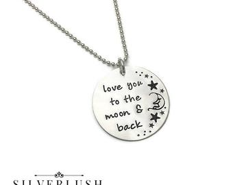 Love you to the moon & back Hand Stamped Sterling Silver Necklace for Moms