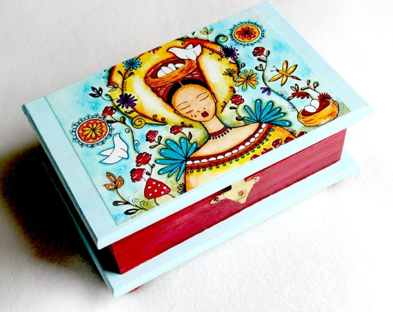 Mexican Girl Jewelry Box, Large, Birds & Flowers in Garden, Whimsical Art Box, Decoupage, Light Blue, Burgundy, Brass Clasp