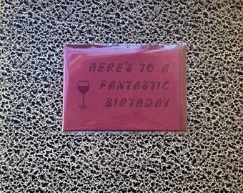 red wine birthday letterpress card