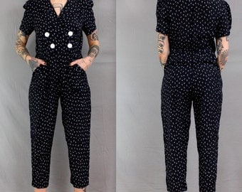 POWER PLAY . 1980's Jumpsuit in Small / Power Shoulders / Shoulder Pads / Black and White Floral / Women's Small / Playsuit / Waist Belt