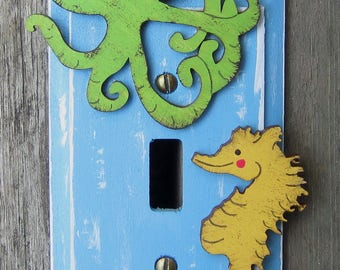 UNDER THE SEA Kids Switch Plate Cover - Original Hand Painted Wood