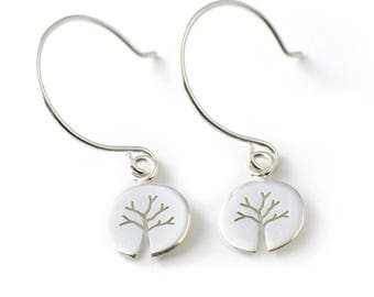 Handmade Tiny Round Sterling Silver Tree Earrings