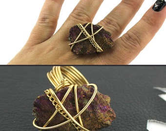 Purple Fuschia & Gold Ring that Rocks size 10
