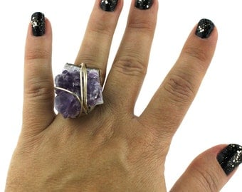 Raw Amethyst and Sterling Silver Ring that Rocks size 5.5