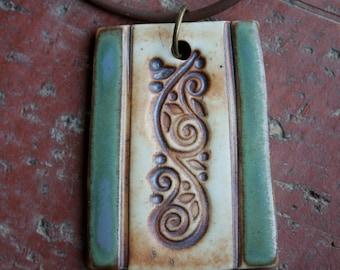 Rustic Swirls Porcelain Pendant 2