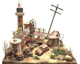 Diorama | zombie set | junk yard | apocalypse | Volkswagen Beetle | VW Bug | night light | miniature | junkyard | rusty relic | abandoned