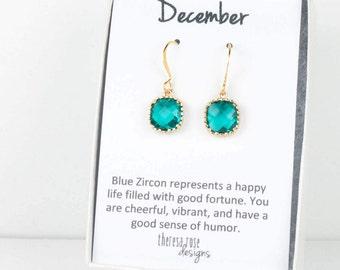 December Blue Zircon Birthstone Gold Earrings, Blue Zircon Gold Square Earrings, December Birthstone Gold Earrings, Bridesmaid Jewelry #807
