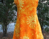SALE was 24.00 Batik orange and yellow Indonesian rayon dress large