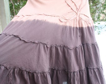 Brown tie dye skirt layered hippie flower size 5 small cotton India