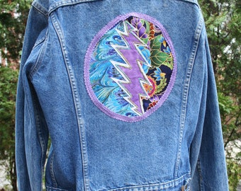 Steal Your Face Levi's size 40 large jean jacket Grateful Dead back embroidered