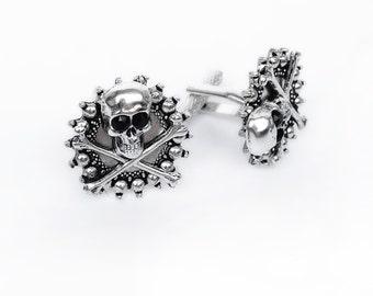Silver Skull Cufflinks Rocker Jewelry gift for him goth husband boyfriend