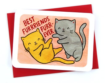 Best Furrriends Furrever BFF Cats Card