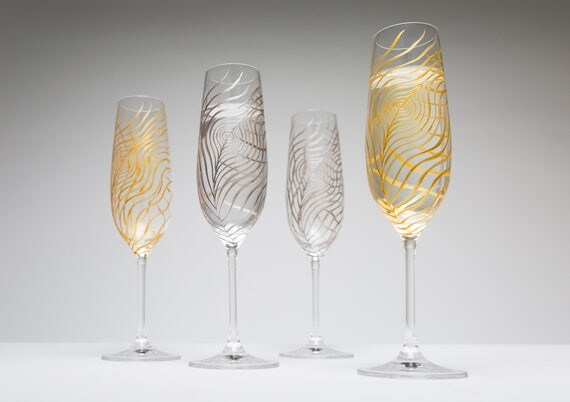 Metallic Gold or Silver Peacock Feather Champagne Flutes - Set of 2 Peacock Feather Toasting Flutes, Peacock Feathers, Wedding Flutes