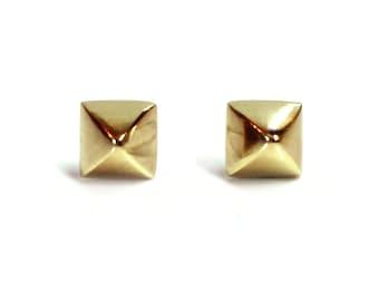 Stud Earrings - Spiky - Punk - Minimalist Earrings - Unisex - Small - Gifts Under 25 - Urban - Pyramid Posts - Brass Studs -Made In Brooklyn