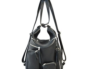 Black Leather Backpack Convertible Shoulder Bag Handmade