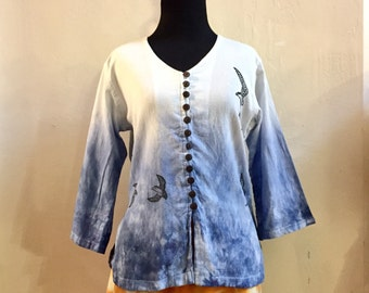Free Bird Ladies Top - 6 sizes! OOAK, hand dyed and block printed, Fair Trade cotton shirt, swallows, V-neck cotton shirt, ladies clothing