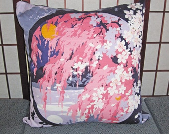 Moon Reflection and Cherry Blossoms Design Zippered Japanese Furoshiki Pillow Cover Purple