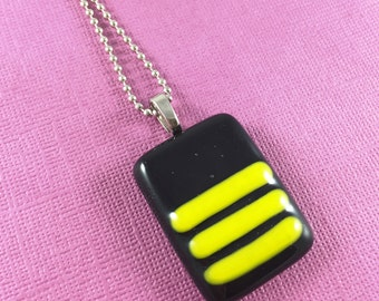 Fused Glass - Buzz Buzz Bee Pendant Necklace