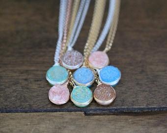 Druzy Bezel Pendant Necklace, Bezel Wrapped Pastel Water Color Sterling Silver, Gold or Rose Gold, Quartz Spring Trends