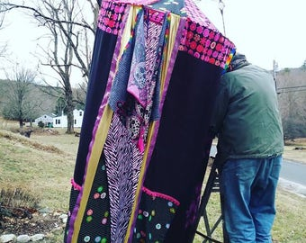 Boho Tent Glamping Changing Room Tent Pink Black and Gold montague