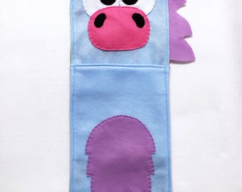 Unicorn Stocking, Christmas Stocking, Buffy the Blue Unicorn - One of a Kind, Gifts for Kids, Felt Animal, Gifts under 50