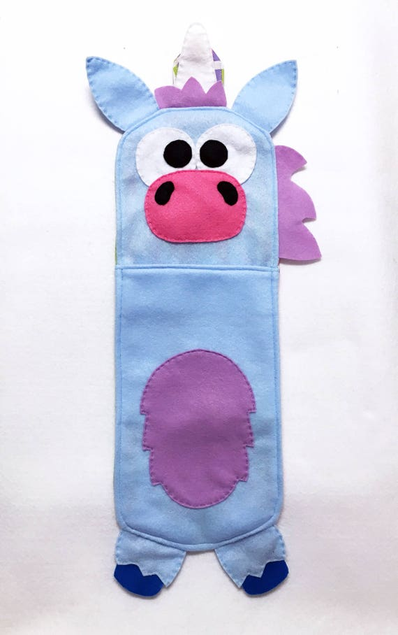 Unicorn Stocking, Christmas Stocking, Buffy the Blue Unicorn - One of a Kind, Gifts for Kids, Felt Animal, Gifts under 50