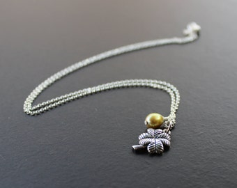 Shamrock and Pearl Sterling Silver Necklace