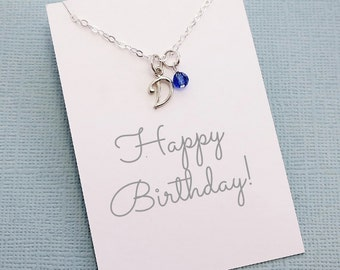 Personalized Initial Birthstone Necklace | Cursive Initial Charm | Personalized Jewelry | Monogram | Swarovski | Sterling Silver | X10