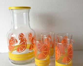 Libbey Orange Juice Set 5 Piece Carafe and Juice Sip Set New In Box