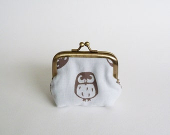 Coin purse, light blue and brown owl fabric, cotton pouch