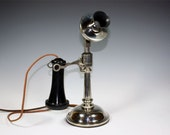 1920s Leich Co, Candlestick Telephone, Nickel