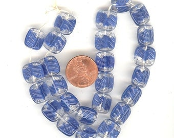 SALE 25 Vintage Clear Givre Textured With Beautiful Shade Of Blue Glass Beads 12mm From West Germany No. 996