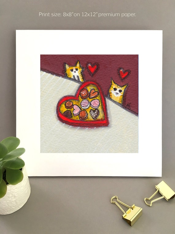 Anniversary gift for cat lovers, print of two orange cats, whimsical artwork, cute valentine decor cat lover gift ideas, valentine candy